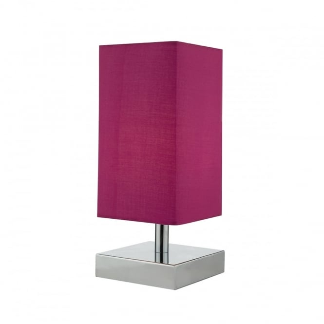 DRAYTON - Touch Polished Chrome With Pink Shade Table Lamp
