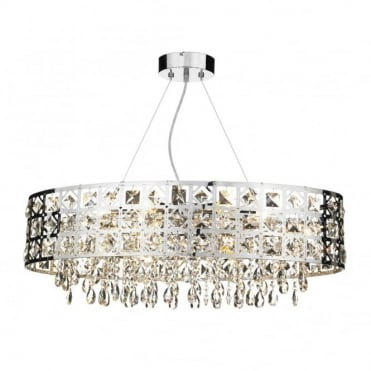 DUCHESS - Large Modern Chrome and Crystal Oval Chandelier