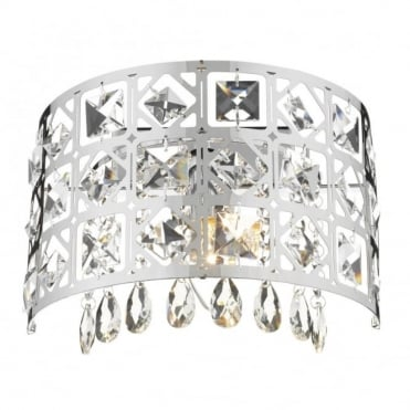DUCHESS - Semicircular Modern Chrome and Crystal Wall Light