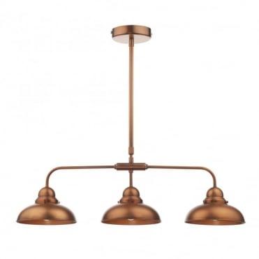 DYNAMO - Antique Copper 3 Light Bar Pendant Light