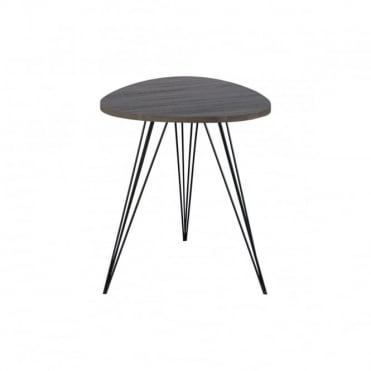EDZEL - Side Table Rounded Dark Oak Style Veneer 50Cm Oak Wood Effect