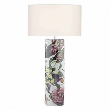 ELANA - Modern Ceramic Table Lamp Base with Vibrant Pink Botanical Print