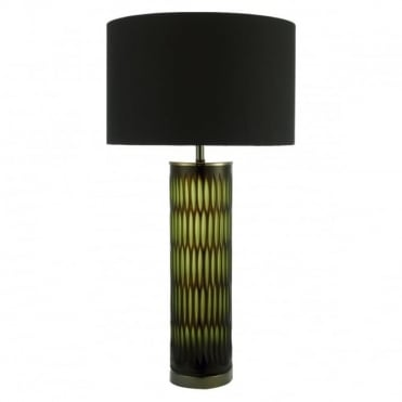 EMERALD - Table Lamp Brown Green Glass Complete With Shade