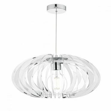 ENZO - Chrome and Mirrored Acrylic Pendant Light