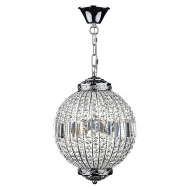 EQUATOR - Crystal Glass and Chrome 6 Light Ceiling Pendant