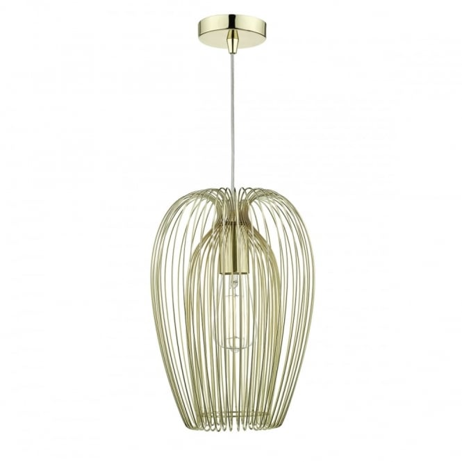 Gold Cage Style Ceiling Pendant Mid Century
