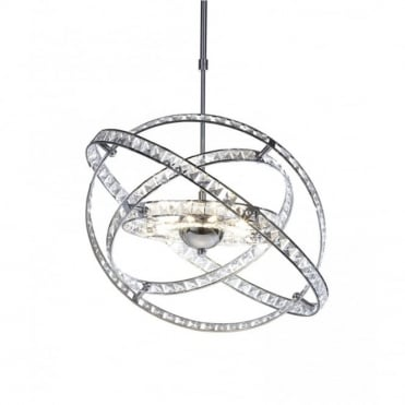 ETERNITY - Chrome And Crystal Feature Ceiling Pendant Light
