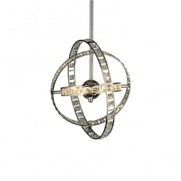 ETERNITY - Chrome and Crystal Hooped Ceiling Pendant Light
