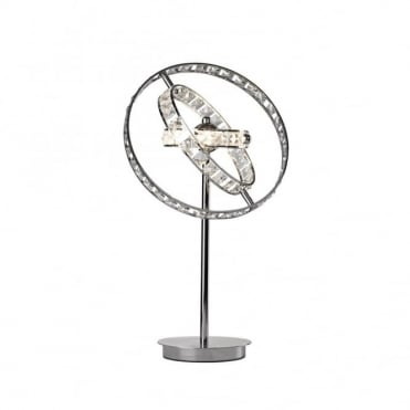 ETERNITY - Modern Chrome and Crystal Hooped Table Lamp