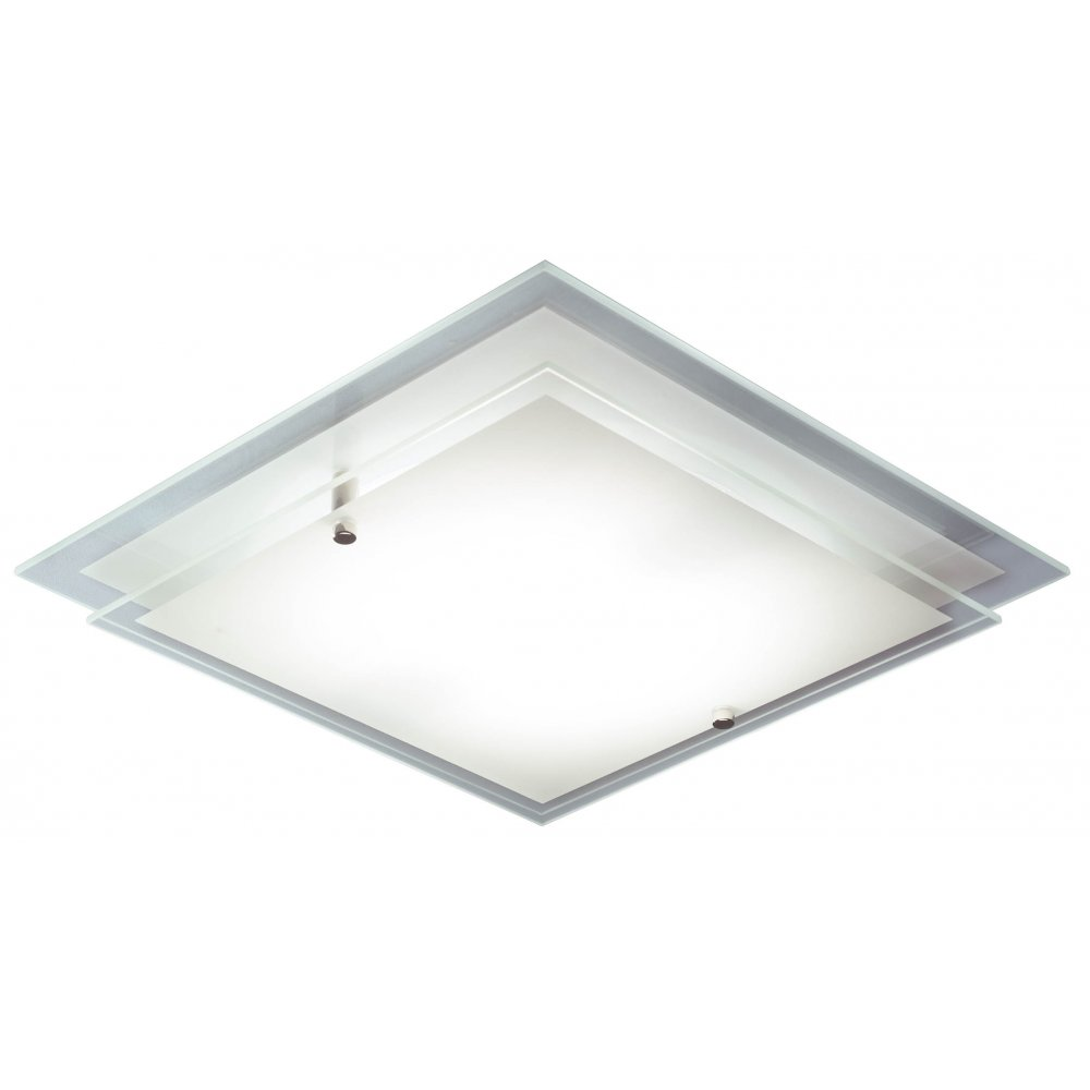 Contemporary Flush Ceiling Light With Square Tiered