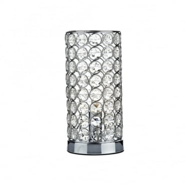 FROST - Cylindrical Chrome and Crystal Touch Lamp Table Light