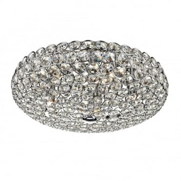 FROST - Flush Fitting Circular Chrome and Crystal Ceiling Light