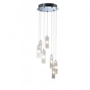 GALILEO - Circular Long Drop Crystal and Chrome Ceiling Light