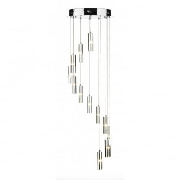 GALILEO - Circular Long Drop Crystal And Chrome Ceiling Pendant