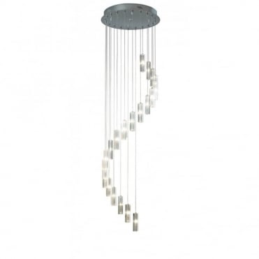 GALILEO - Large Long Drop 20 Light Crystal Spiral Ceiling Pendant