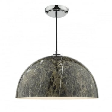 GANACHE - 1 Light Ceiling Pendant Polished Chrome Brown Marble Effect Brown