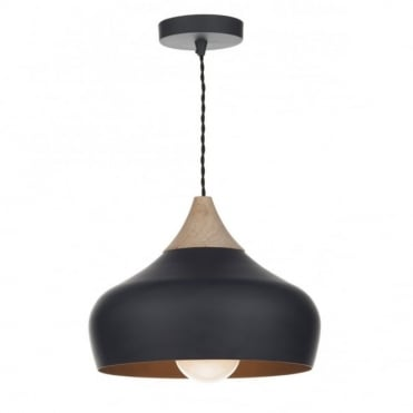 GAUCHO - Black and Wood Ceiling Pendant