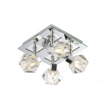 GEO - Crystal Spotlights Square Chrome Ceiling Plate