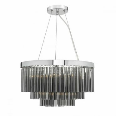 GIOVANA - 5 Light Smoked Glass Chrome Ceiling Pendant