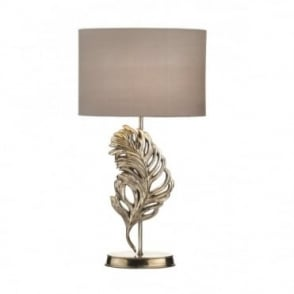 GLEBE - Antique Silver Feather Table Lamp With Grey Shade