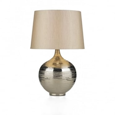 GUSTAV - Large Silver Ceramic Ripple Table Lamp