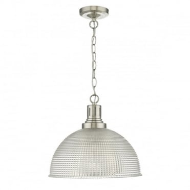 HODGES - Prismatic Glass Ceiling Pendant In Satin Nickel