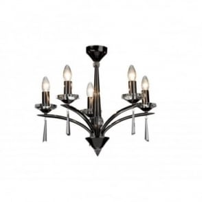 HYPERION - Black Chrome And Crystal Ceiling Light