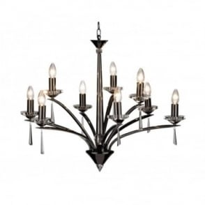 HYPERION - Large Black Chrome Crystal Ceiling Chandelier