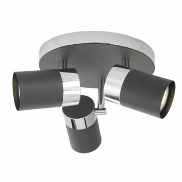 IBSEN - 3 Light Ceiling Plate Black Polished Chrome