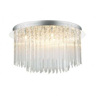ICICLE - Circular Chrome Glass Chandelier For Low Ceilings