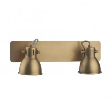 IDAHO - Double Insulated Brass Coloured Twin Spotlight Bar