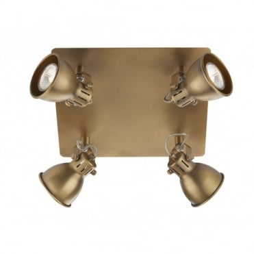 IDAHO - Square Brass Coloured Ceiling Light With 4 Spotlights