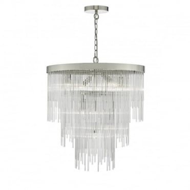ISLA - Chrome Glass Rods Ceiling Pendant