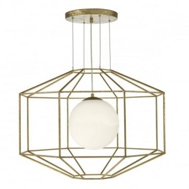 IZMIR - 1 Light Ceiling Pendant Hexagonal Gold Effect Opal Glass