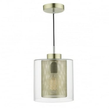 JAXEN - 1 Light Ceiling Pendant Gold Complete With Clear Glass Gold