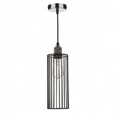 JEB - 1 Light Cage Pendant Black Chrome Ceiling Shade