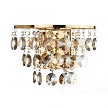 JESTER - Antique Gold Wall Light With Amber Crystal Droplets