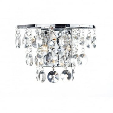 JESTER - Chrome And Crystal Curved Wall Light