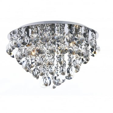 JESTER - Flush Fitting Circular Ceiling Light With Crystal Drops