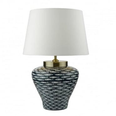 JOY - Table Lamp Blue White Ceramic Base C/W White Shade