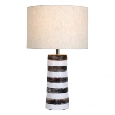 JURA Table Lamp Whitewash Wood complete with Linen Shade
