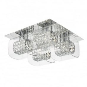 KABUKI - 4 Light Square Flush Ceiling Polished Chrome With Crystal And Glass
