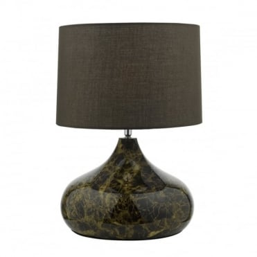 KARIM - Table Lamp Brown Marbled Glass Complete With Shade Marble Effect