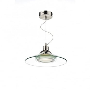 KASKO - LED Double Insulated LED Modern Chrome And Glass Ceiling Pendant