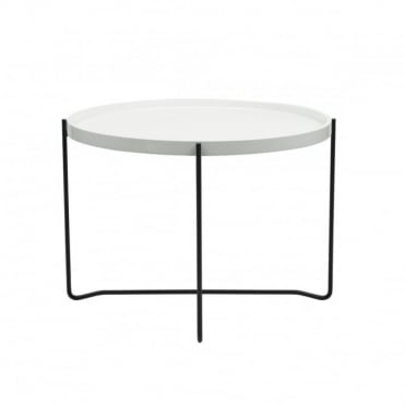 KINGSTON - Side Table Round Gloss White White