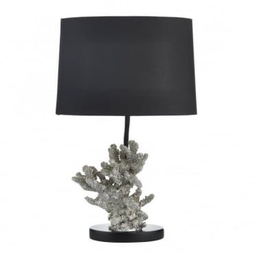 KORA - Silver Decorative Table Lamp With Black Shade