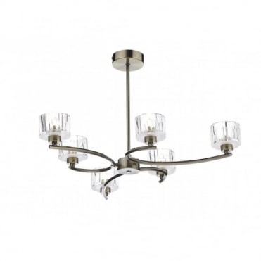 LAGUNA - Semi Flush Ceiling Antique Brass Ceiling Light (6 Light)