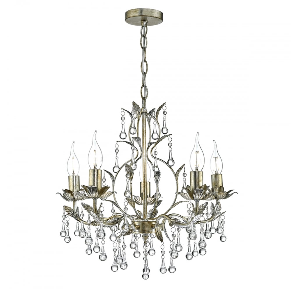 Antique gold silver leaf crystal chandelier lighting and lights uk laquila 5 light leaf ceiling pendant pale distressed gold silver antique gold arubaitofo Image collections