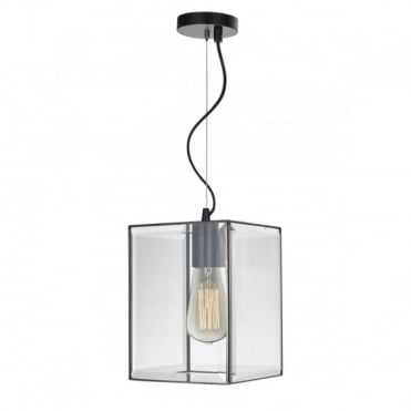 LENTO - 1 Light Lantern Black And Clear