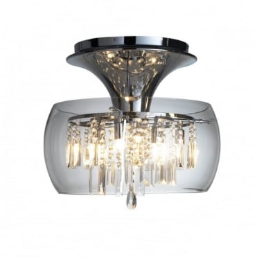 LOCO - Modern Flush Ceiling Fitting Ceiling Light With Crystal Decorations